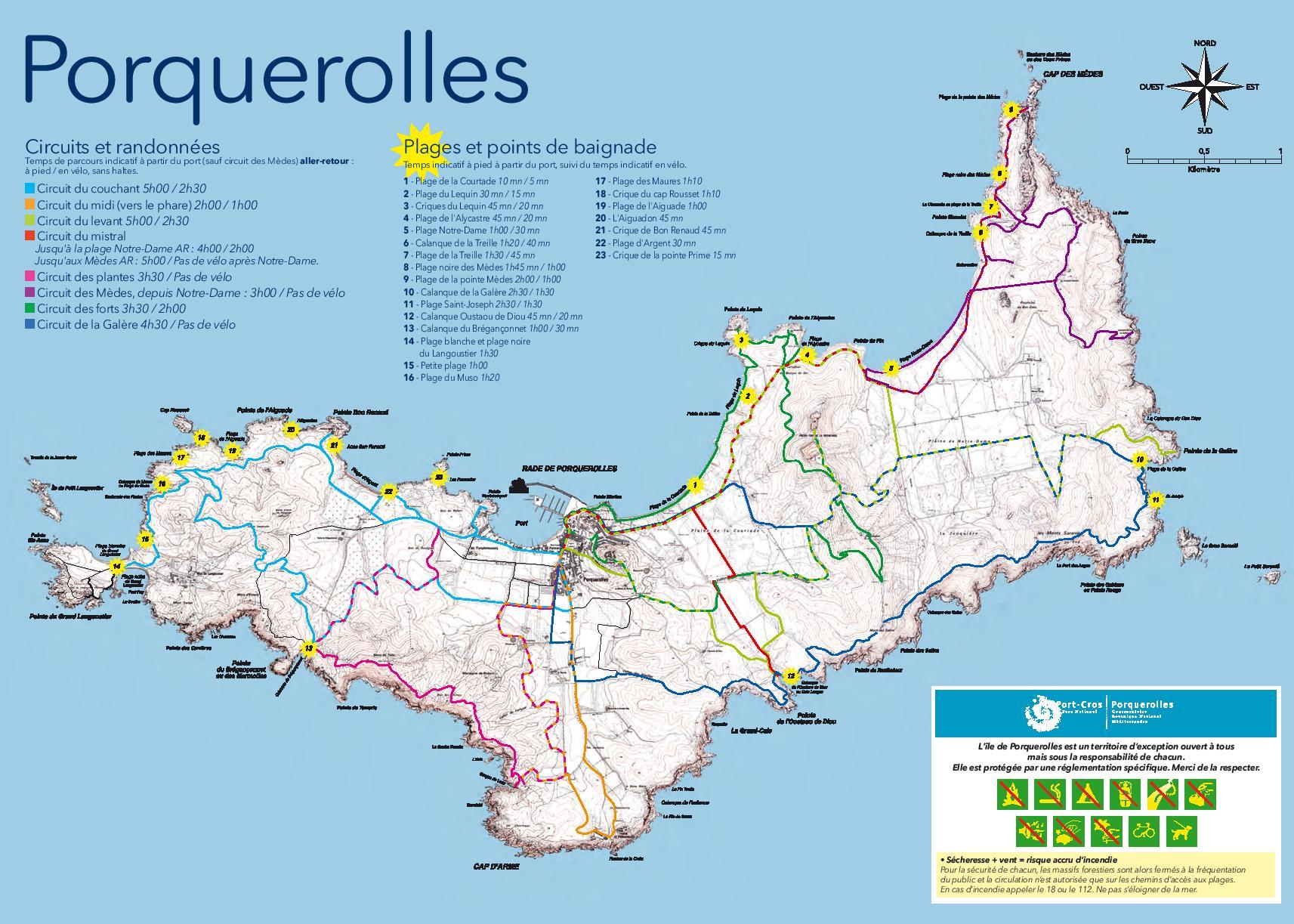 Plan de l'ïle de Porquerolles pour location de vélosLa Bécane